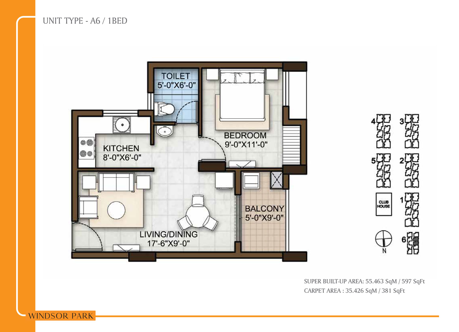 Type A6 - 597 Sq Ft