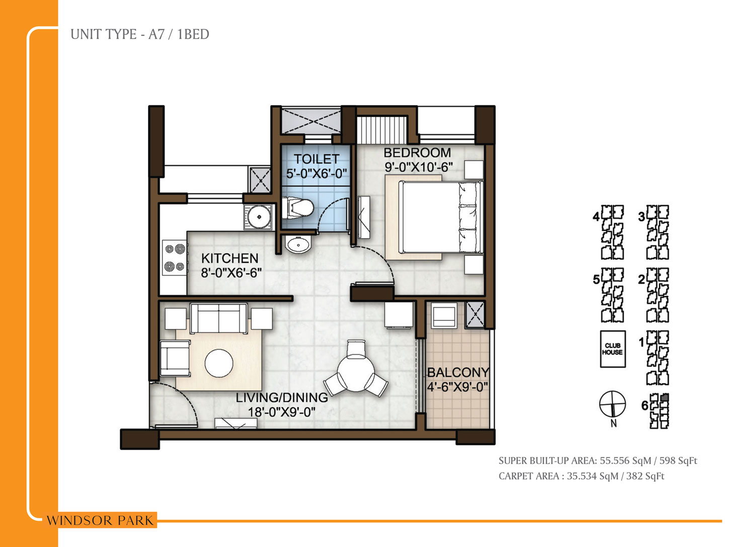 Type A7 - 598 Sq Ft
