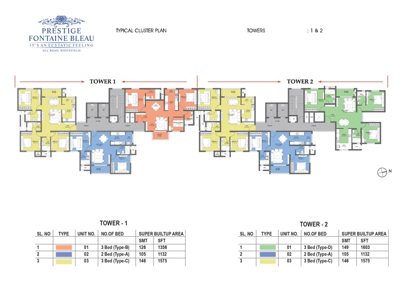 Prestige Fontaine Bleau - Cluster Plan, Typical, Towers 1 & 2