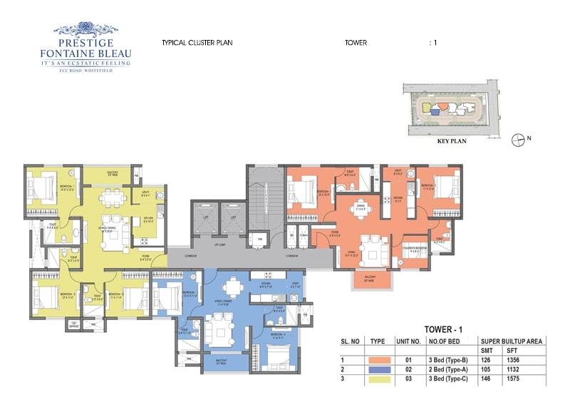 Prestige Fontaine Bleau - Cluster Plan, Typical, Tower 1