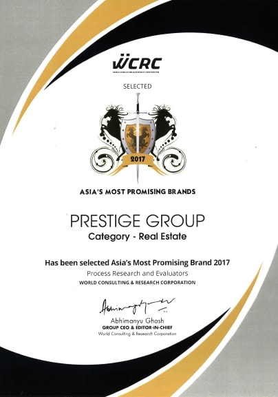 WCRC Award Asia's Most Promising Brand 2017 Prestige Group