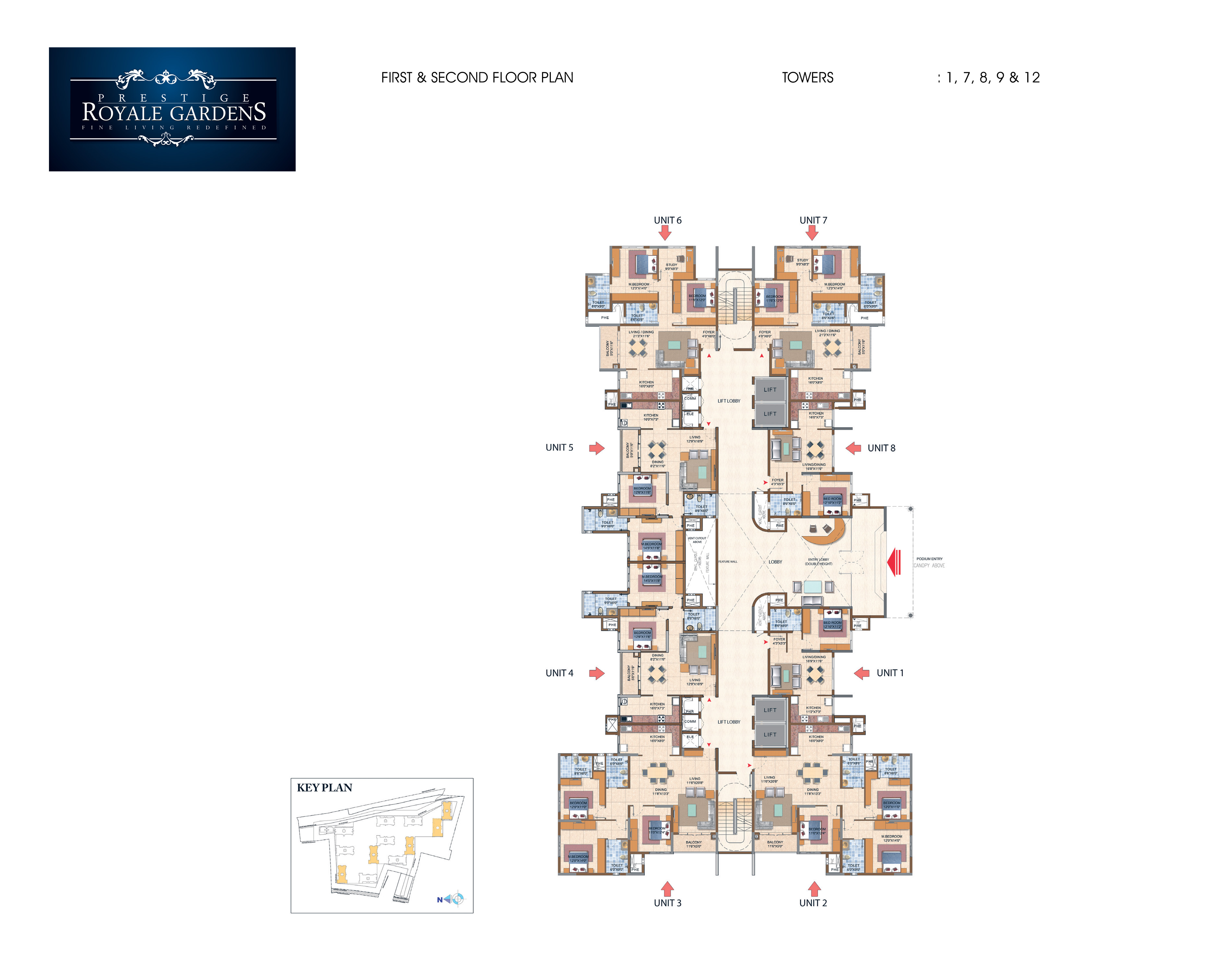 Prestige Royale Gardens - First & Second Floor Plan, Towers 1, 7, 8, 9 & 12