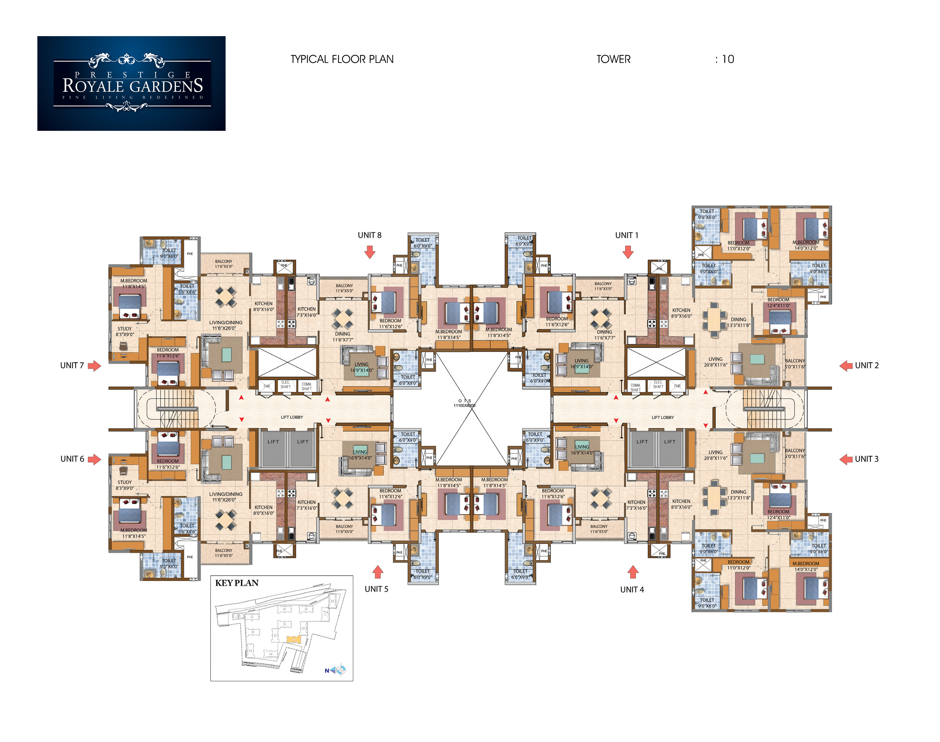 Prestige Royale Gardens - Typical Floor Plan, Tower 10
