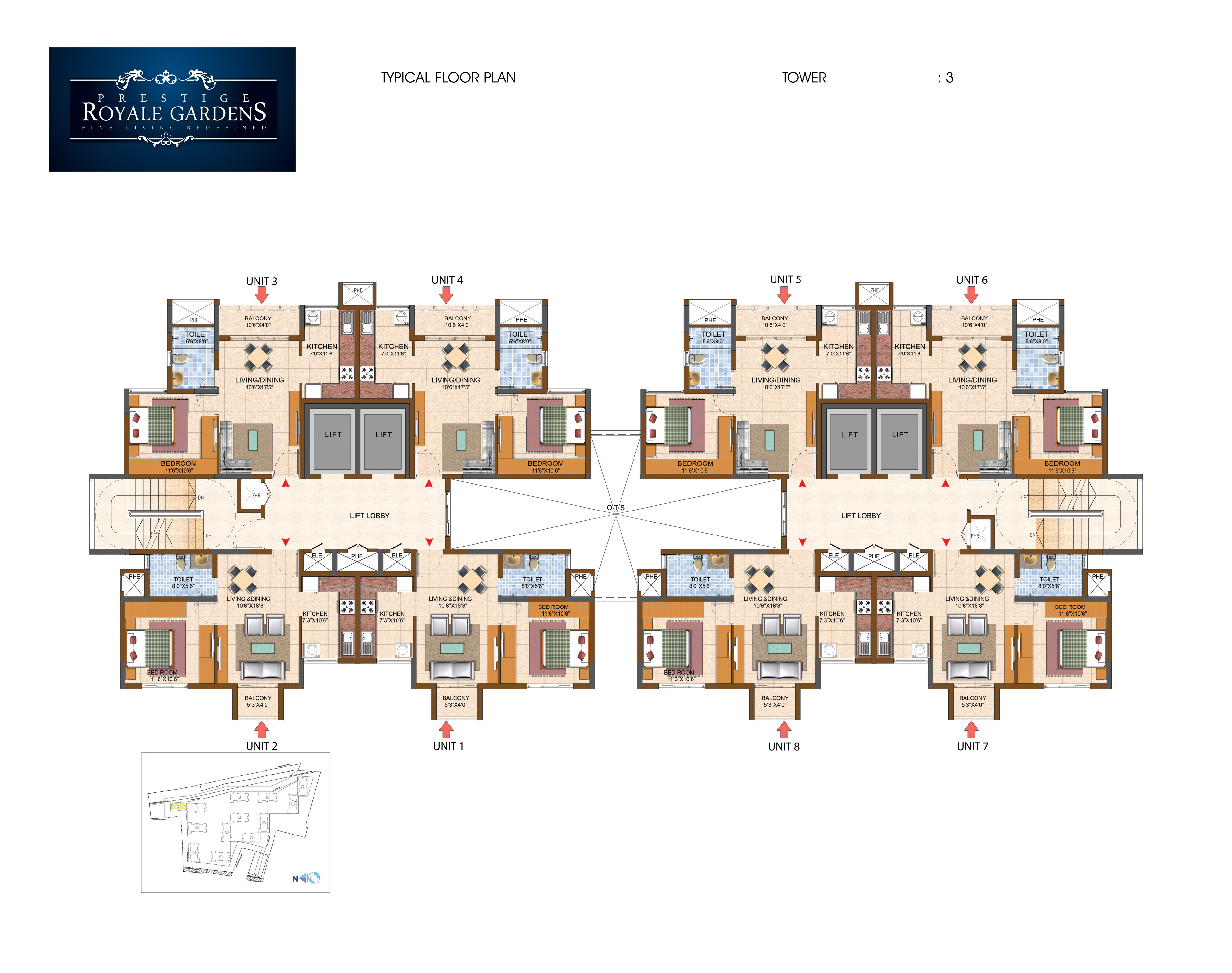 Prestige Royale Gardens - Typical Floor Plan, Tower 3