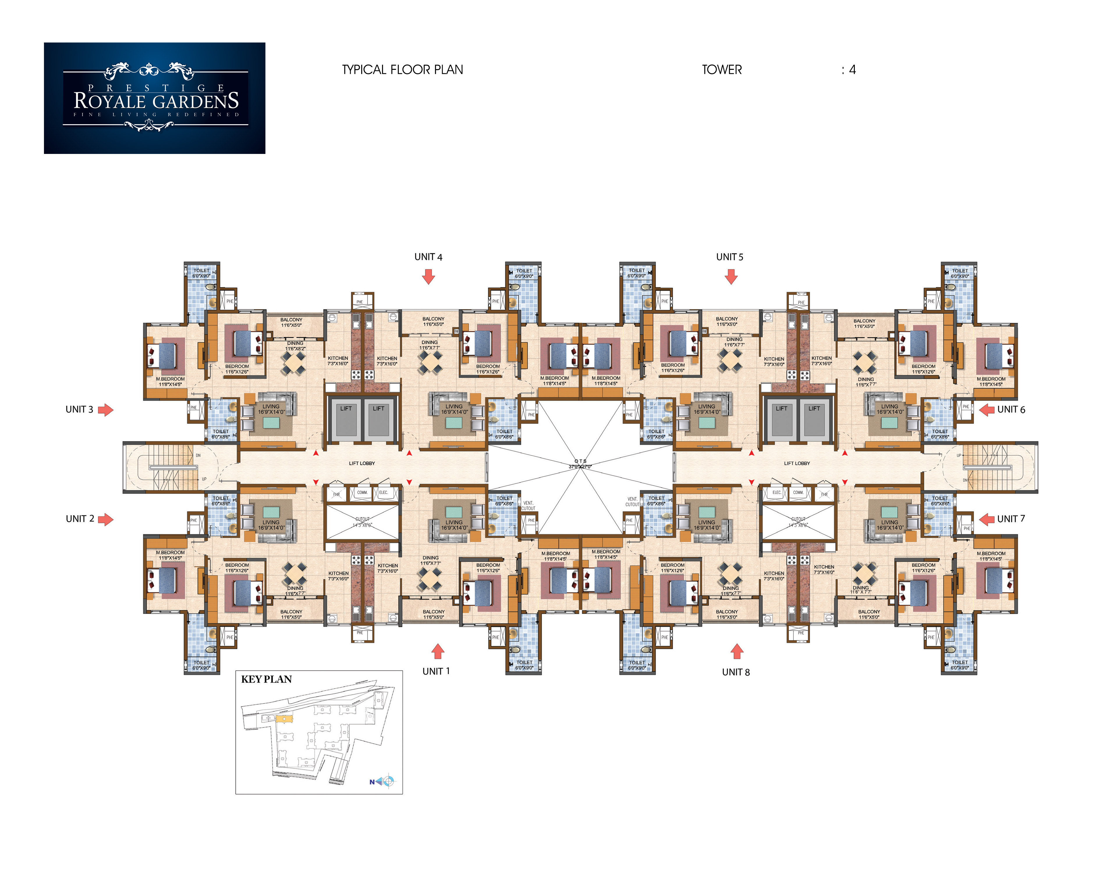 Prestige Royale Gardens - Typical Floor Plan, Tower 4